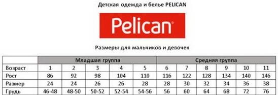 размер одежды Пеликан